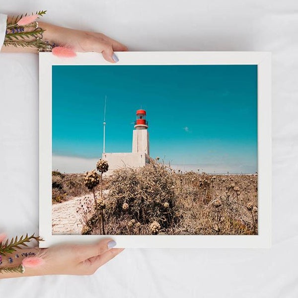 Red Lighthouse in the Desert Digital Print - Instant Download Wall Art