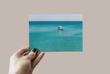 Turquoise Blue Ocean Print | Minimalist Digital Summer Travel Poster