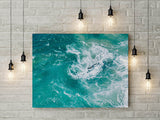 Teal Ocean Waves Pattern Instant Wall Art - Turquoise Blue Wall Decor