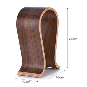 various measurements of classic walnut headphone stand