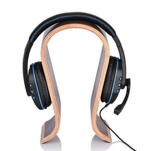 Load image into Gallery viewer, headphones placed on Classic Walnut Headphones Stand