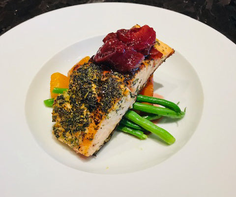 Grilled Filet of Atlantic Salmon plum chutney