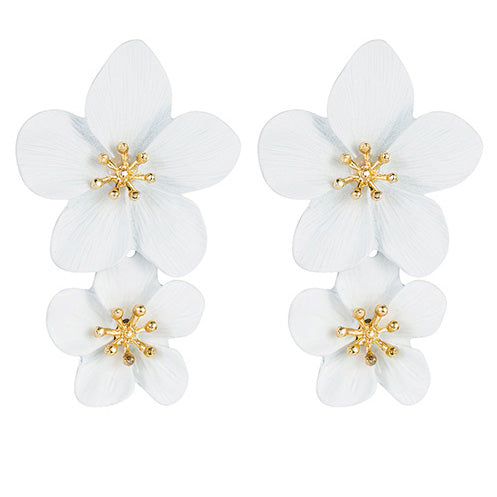 Exotic Frangipani Earrings in White
