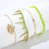 Neon Lime Evil Eye Bracelet/ Anklet Set