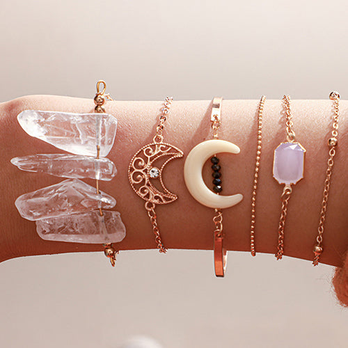 Moon & Clear Quartz Bracelet Set
