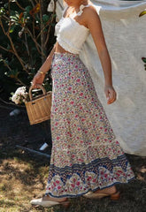 Bohéme Chic Skirt in White Peonies