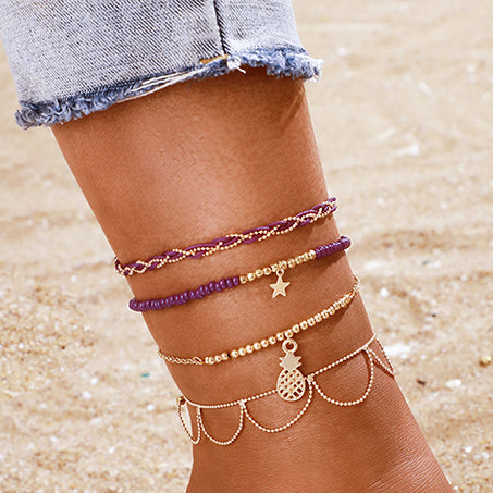 Purple Braids Bracelet/ Anklet Set