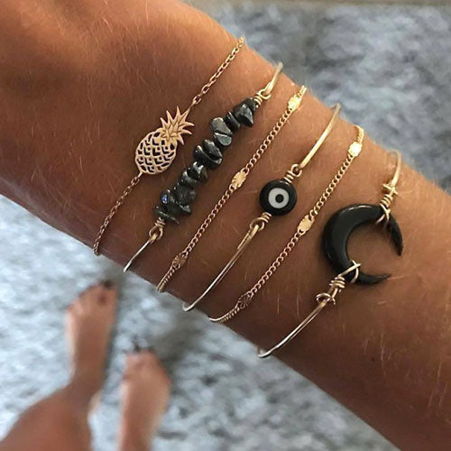 Black Moon Evil Eye Bracelet Set