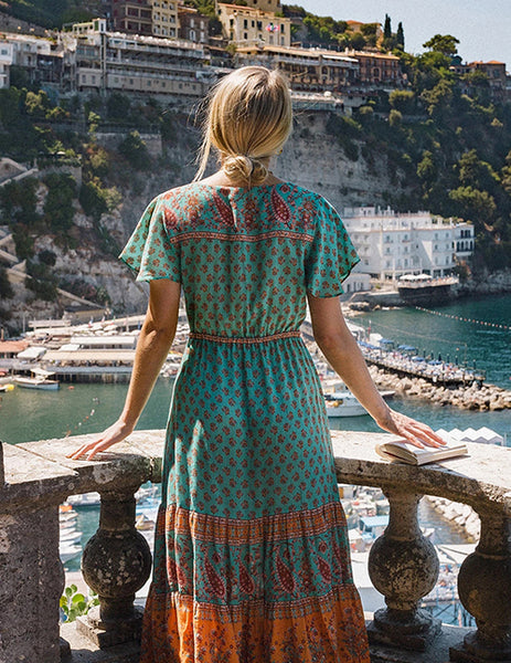 La Bohéme Resort Dress in Turquoise