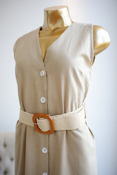 Esperanza Linen Dress in Beige