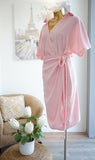 Odette Wrap Dress in Pastel Pink