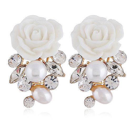 White Roses Earrings