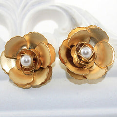 Gold Begonia Earrings