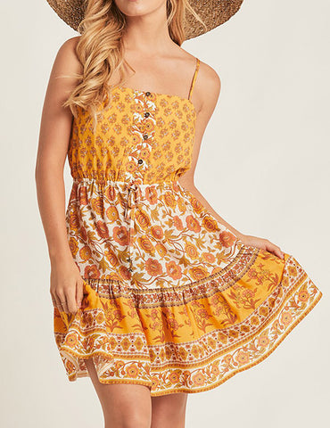 Zinnia Dress in Yellow Floral