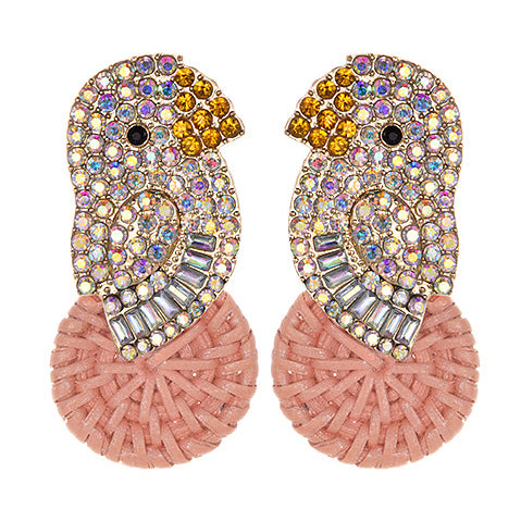 Rattan Canary Bird Earrings in Pink