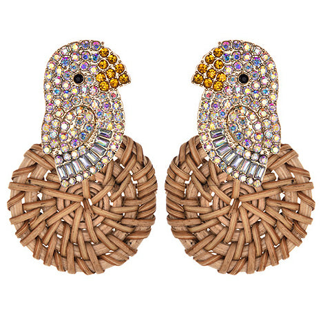 Rattan Canary Bird Earrings in White