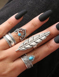 Boho Feather Midi Rings (Set of 4 pcs)