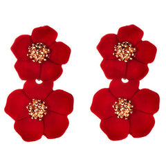 Red Flora Earrings