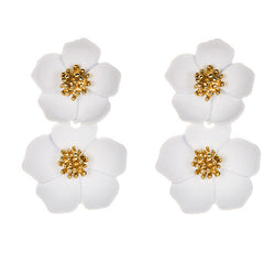 White Flora Earrings