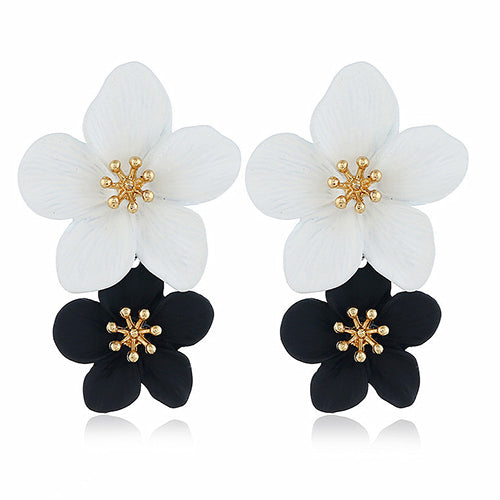 Exotic Frangipani Earrings in Black & White