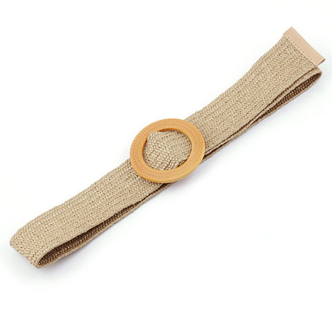 Natural Jute Belt in Beige (Round Buckle)