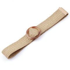 Natural Jute Belt in Beige (Round Tortoise Buckle)