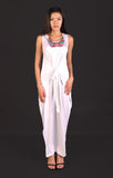 Indigo Tie Front Maxi Dress in White