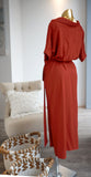 Odette Wrap Maxi Dress in Terracotta
