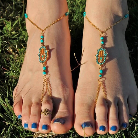 Turquoise Hamsa Barefoot Anklet