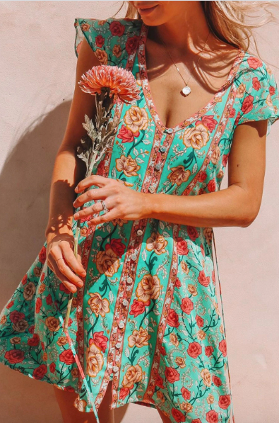 Malaga Rose Dress in Turquoise