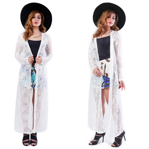 Fjord Lace Maxi Cardigan in White