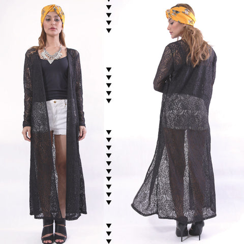 Fjord Lace Maxi Cardigan in Black