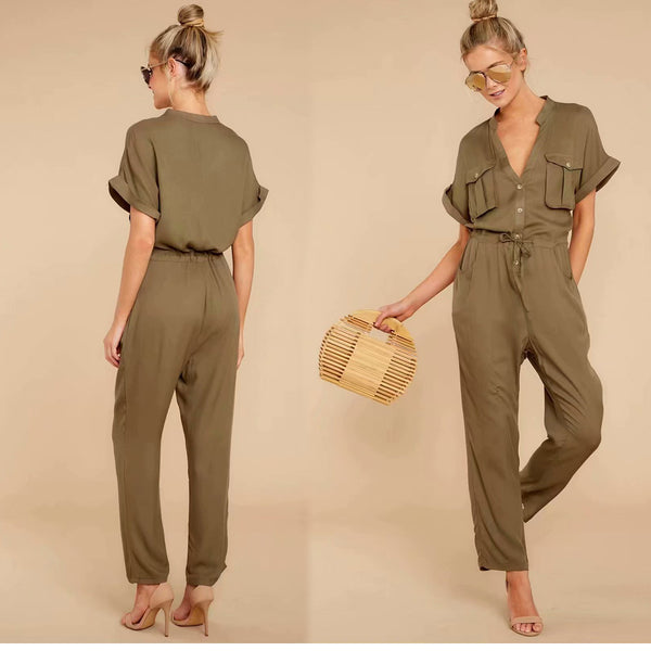 Island Safari Jumpsuit in Olive
