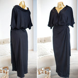 Odette Wrap Maxi Dress in Black