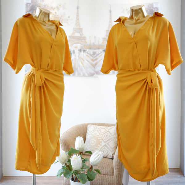 Odette Wrap Dress in Sunflower
