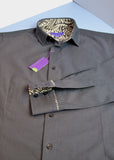 Black micro diamond men's shirt, trimmed with paisley Liberty print - Nineteenthirty Menswear - 1