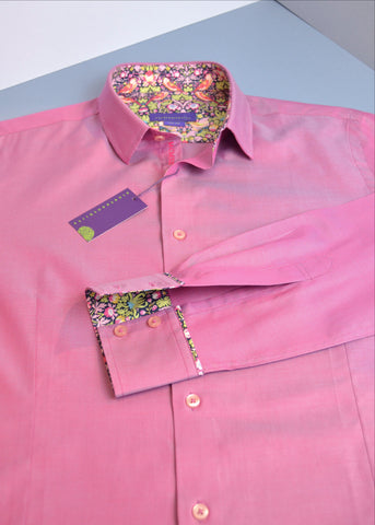 A men's deep pink shirt with Liberty print trim