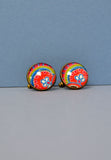 Liberty Print cufflinks in orange lime and blues - Nineteenthirty Menswear - 1