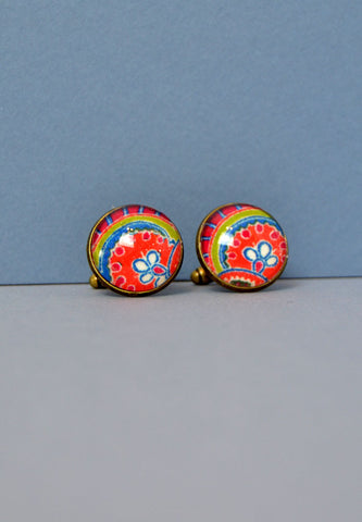 Liberty Print cufflinks in orange lime and blues