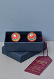 Liberty Print cufflinks in orange lime and blues - Nineteenthirty Menswear - 2