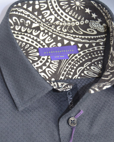 Black micro diamond men's shirt, trimmed with paisley Liberty print