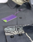Black micro diamond men's shirt, trimmed with paisley Liberty print - Nineteenthirty Menswear - 4