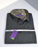 Black micro diamond men's shirt, trimmed with paisley Liberty print - Nineteenthirty Menswear - 2