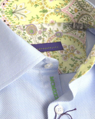 Blue birdseye two-fold men's city shirt trimmed with Liberty print