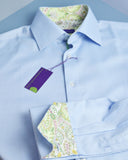 Blue birdseye two-fold men's city shirt trimmed with Liberty print - Nineteenthirty Menswear - 1