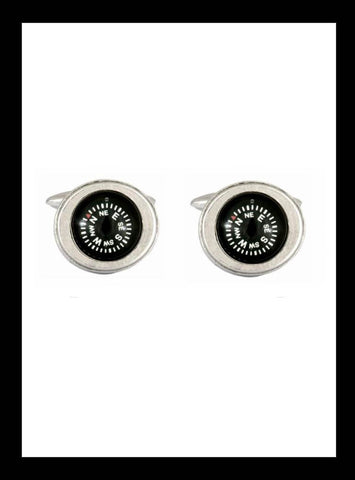 Rhodium Compass Cufflinks