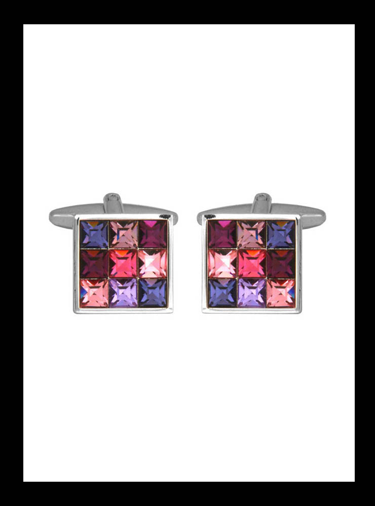 Pink and purple square crystal cuff links - Nineteenthirty Menswear - 1
