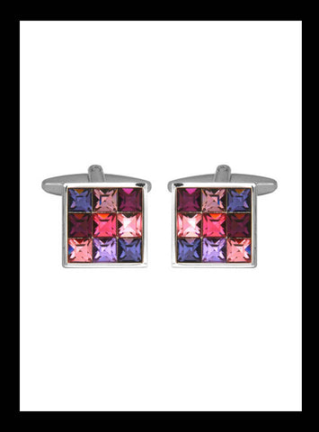 Pink and purple square crystal cuff links
