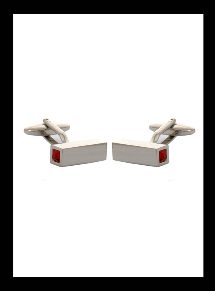Rectangular red crystal capped rhodium cufflinks - Nineteenthirty Menswear - 1