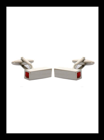 Rectangular red crystal capped rhodium cufflinks